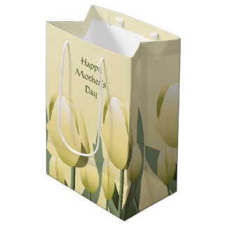 Mothers Day Spring Yellow Tulips Med Medium Gift Bag