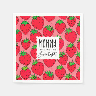 Mother's Day Sweetest Mom Strawberries Paper Napkin
