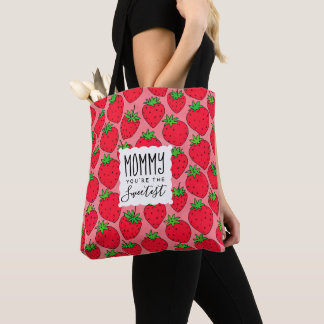 Mother's Day Sweetest Mom Strawberries Tote Bag