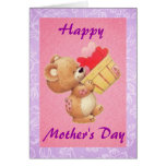 Mother's Day Teddy And A Basket Of Hearts Greeting Card