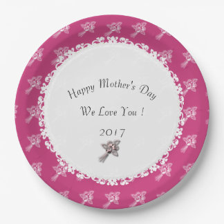 Mother's-Day--Template_Mauve-White-Roses 9 Inch Paper Plate