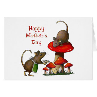 Mother's Day: Two Mice & Toadstool: Cookies: Art Card