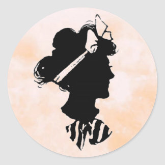Mother's Day Vintage Woman Silhouette Classic Round Sticker