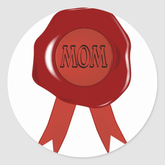 Mothers Day Wax Stamp Classic Round Sticker
