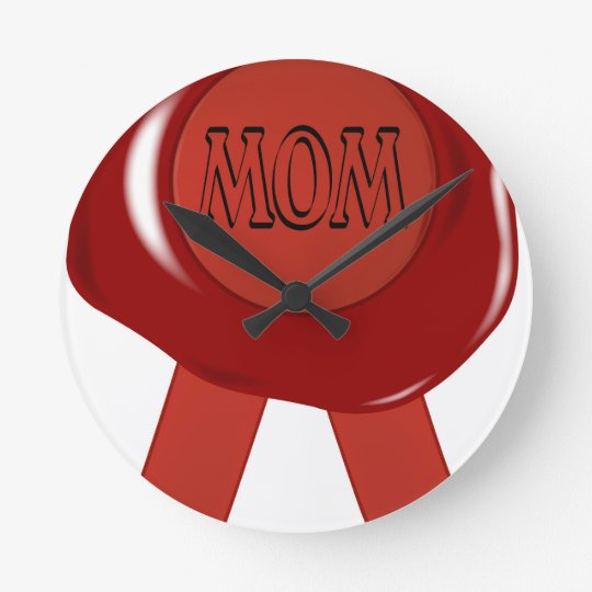 Mothers Day Wax Stamp Round Clock