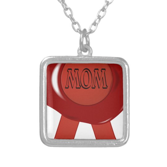Mothers Day Wax Stamp Silver Plated Necklace