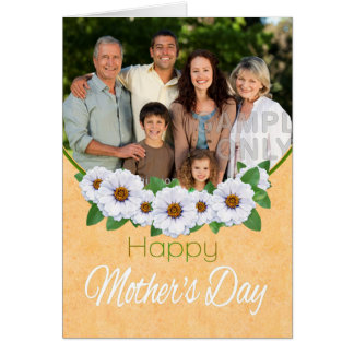 Mother's Day White Zinnias Photo Greeting Card