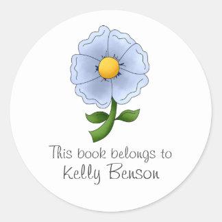 Mother's Flowers · Blue Flower Classic Round Sticker