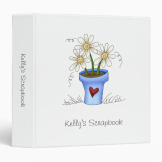 Mother's Flowers · Blue Flower Pot 3 Ring Binders