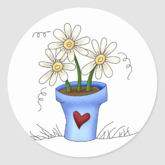 Mother's Flowers · Blue Flower Pot Classic Round Sticker