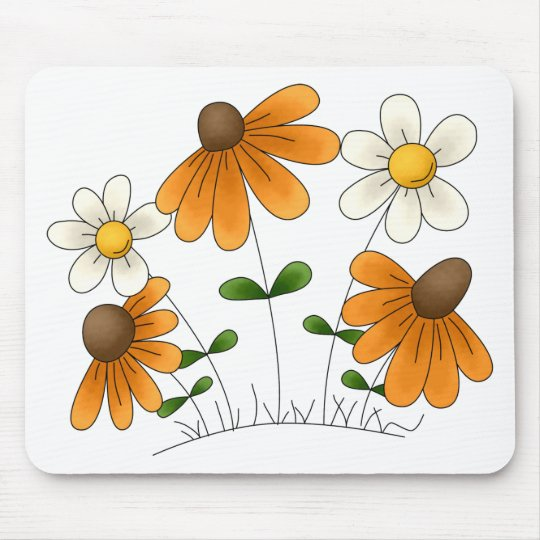 Mother's Flowers · Orange & White Daisies Mouse Pad