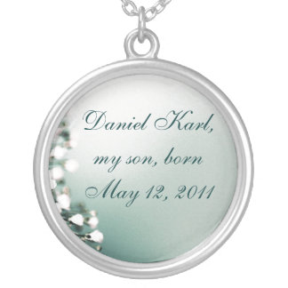 Mother's Forever Necklace, Baby & Birthdate Silver Plated Necklace