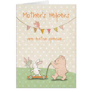 Mother's Helper Thanks Bear and Bunny Card