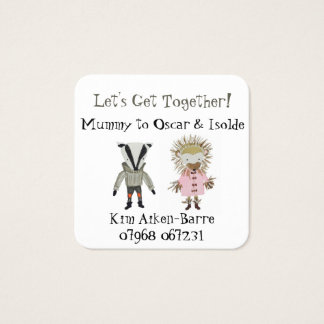 Mother's Play Date Get Together for Boy and Girl Square Business Card