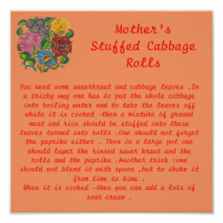 Mother's stuffed cabbage rolls poster