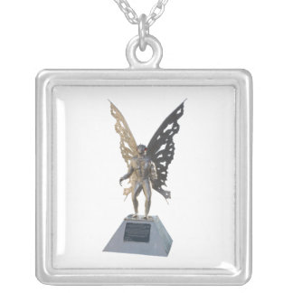 Mothman Statue from Point Pleasant West Virginia Silver Plated Necklace