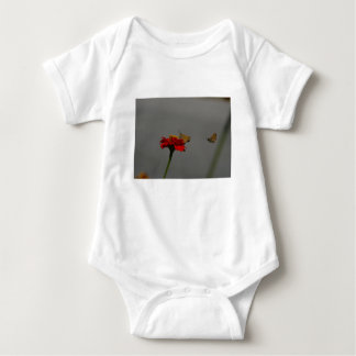 Moths and Red Zinnia Baby Bodysuit