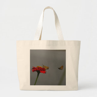 Moths and Red Zinnia Large Tote Bag