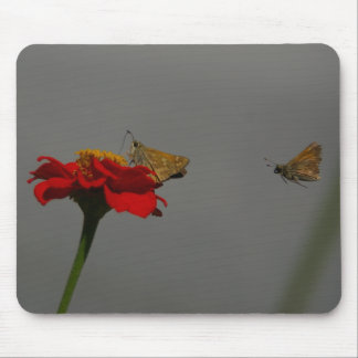 Moths and Red Zinnia Mouse Pad