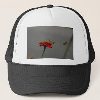 Moths and Red Zinnia Trucker Hat