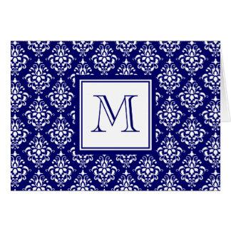 Motif 1 de damassé de bleu marine avec le carte