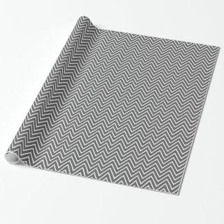 Motif 2 de Chevron de gris de charbon de bois Papier Cadeau Noël