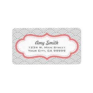 Motif asiatique rose gris et de corail étiquettes d'adresse
