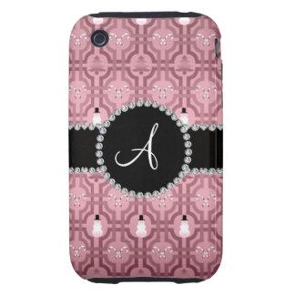 Motif assez rose de treillis de bonhomme de neige coque tough iPhone 3