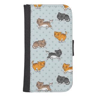 motif avec les chats drôles coque avec portefeuille pour galaxy s4