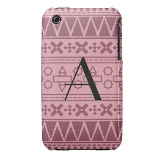 Motif aztèque assez rose de monogramme coques Case-Mate iPhone 3