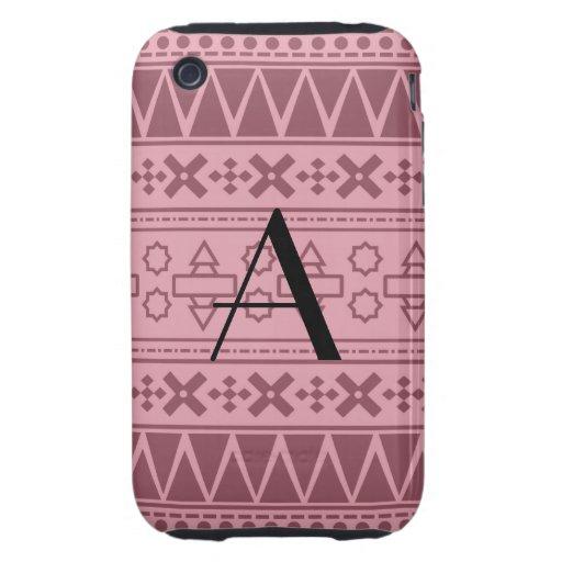 Motif aztèque assez rose de monogramme coque iPhone 3 tough