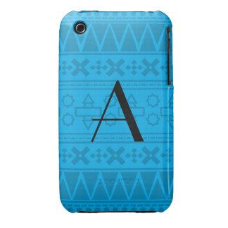 Motif aztèque de bleu de ciel de monogramme étui iPhone 3