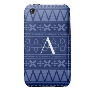 Motif aztèque de bleu marine de monogramme coque iPhone 3 Case-Mate