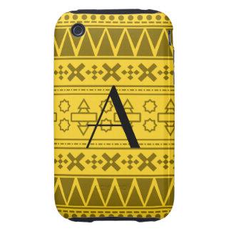 Motif aztèque jaune de monogramme étui tough iPhone 3
