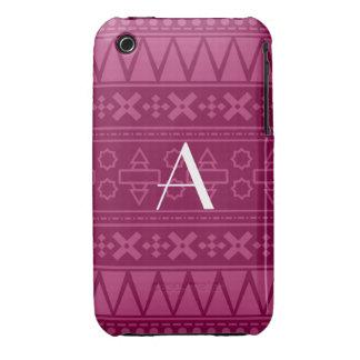Motif aztèque pourpre de prune de monogramme coque Case-Mate iPhone 3