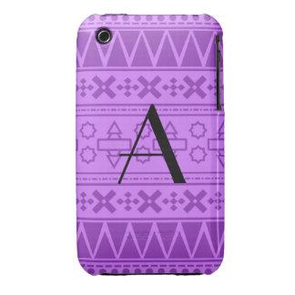 Motif aztèque pourpre en pastel de monogramme étui iPhone 3