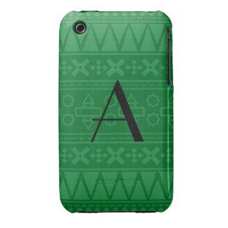Motif aztèque vert de monogramme coques Case-Mate iPhone 3