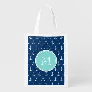 Motif blanc d'ancres de bleu marine, Monogr vert e Sacs D'épicerie Réutilisables