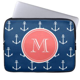 Motif blanc d'ancres de bleu marine, monogramme de trousse ordinateur
