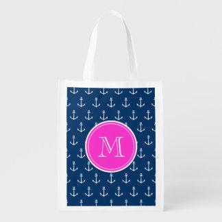 Motif blanc d'ancres de bleu marine, monogramme de sacs d'épicerie réutilisables