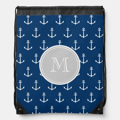 Motif blanc d'ancres de bleu marine, monogramme gr sac à dos