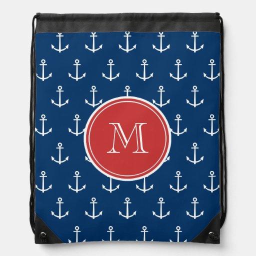 Motif blanc d'ancres de bleu marine, monogramme ro sac à dos