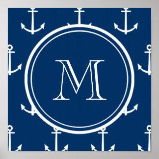 Motif blanc d'ancres de bleu marine, votre monogra affiche
