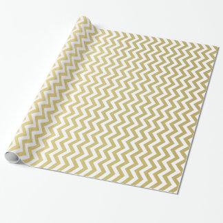Motif blanc de Chevron de feuille d'or Papiers Cadeaux Noël