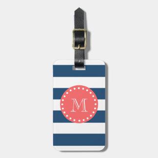 Motif blanc de rayures de bleu marine, monogramme  étiquette pour bagages