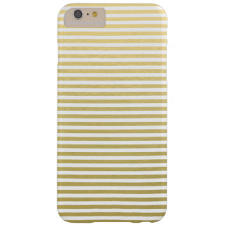 Motif blanc de rayures de feuille d'or coque iPhone 6 plus barely there