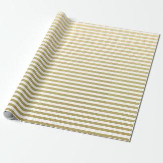 Motif blanc de rayures de feuille d'or papier cadeau noël