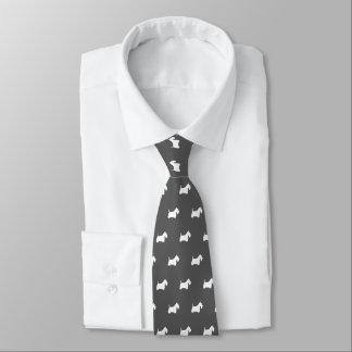 Motif blanc de silhouettes de Terrier d'écossais Cravate