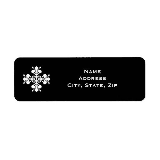 Motif blanc élégant de damassé de fleur de lis étiquette d'adresse retour