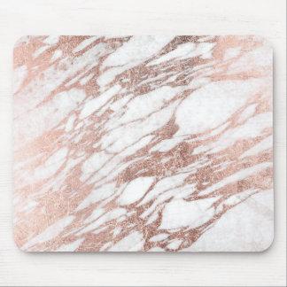 Motif blanc et rose élégant chic de marbre d'or tapis de souris